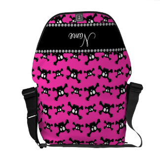 Personalized name pink skulls pattern messenger bags