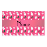 Personalized name pink snowman christmas business card
