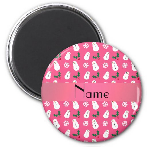 Personalized name pink snowman christmas fridge magnet