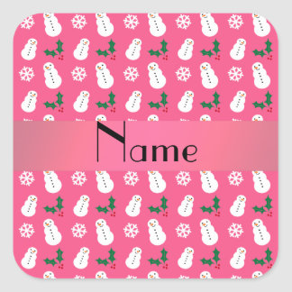 Personalized name pink snowman christmas sticker