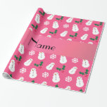 Personalized name pink snowman christmas wrapping paper