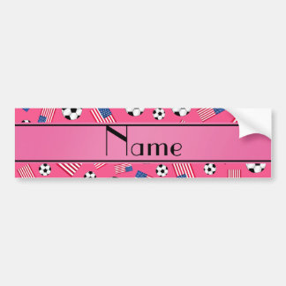 Personalized name pink soccer american flag bumper sticker