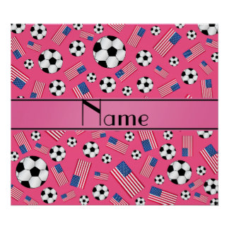 Personalized name pink soccer american flag poster