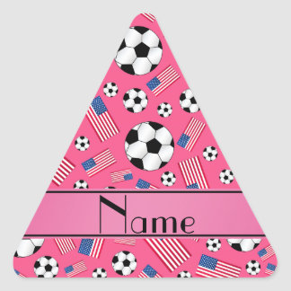 Personalized name pink soccer american flag triangle sticker