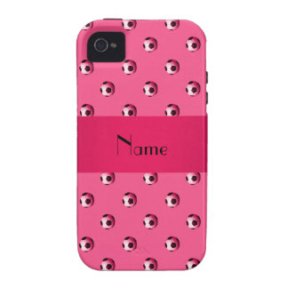 Personalized name pink soccer balls iPhone 4/4S cover