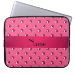 Personalized name pink soccer balls laptop computer sleeve