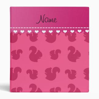 Personalized name pink squirrel pattern vinyl binder