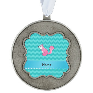 Personalized name pink squirrel turquoise chevrons scalloped pewter ornament