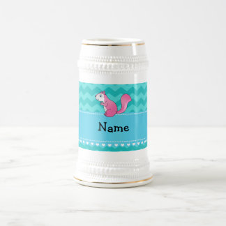 Personalized name pink squirrel turquoise chevrons 18 oz beer stein