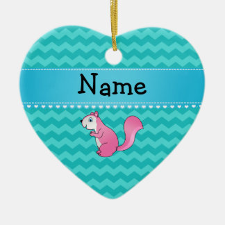 Personalized name pink squirrel turquoise chevrons christmas ornament