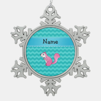 Personalized name pink squirrel turquoise chevrons ornament