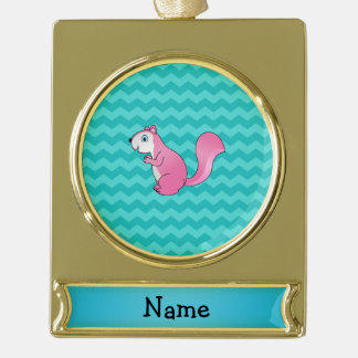 Personalized name pink squirrel turquoise chevrons gold plated banner ornament