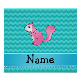 Personalized name pink squirrel turquoise chevrons poster