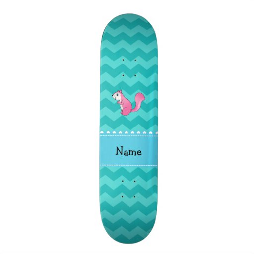 Personalized name pink squirrel turquoise chevrons skate boards