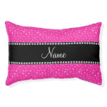 Personalized name pink stars small dog bed