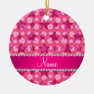 Personalized name pink stars volleyballs ceramic ornament