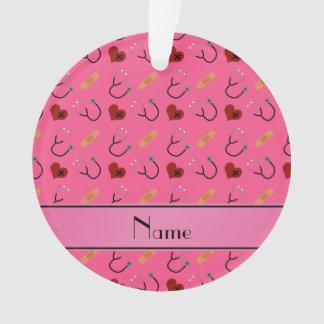 Personalized name pink stethoscope bandage heart