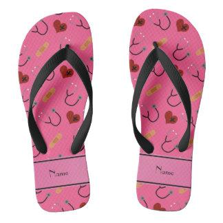 Personalized name pink stethoscope bandage heart flip flops