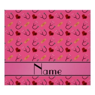 Personalized name pink stethoscope bandage heart poster