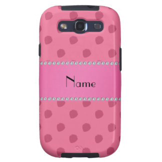 Personalized name pink strawberries pattern samsung galaxy SIII covers