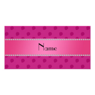 Personalized name pink strawberries pattern personalized photo card