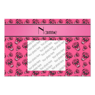 Personalized name pink sugar skulls photographic print