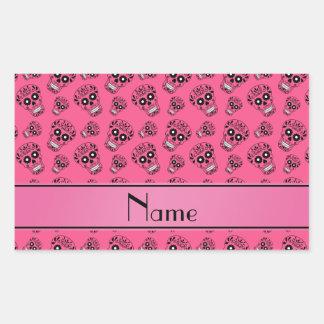 Personalized name pink sugar skulls rectangular sticker