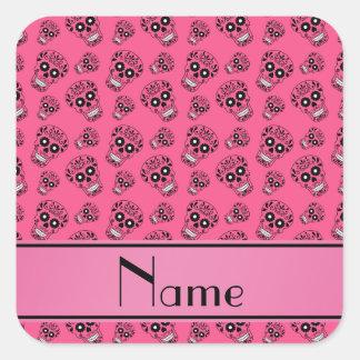 Personalized name pink sugar skulls square sticker