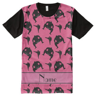 Personalized name pink sumo wrestling All-Over print t-shirt
