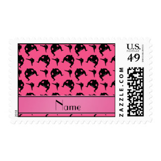 Personalized name pink sumo wrestling postage stamp