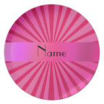 Personalized name pink sunburst party plate