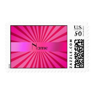 Personalized name pink sunburst postage