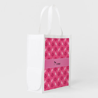Personalized name pink surfboard pattern grocery bag