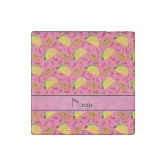 Personalized name pink tacos sombreros chilis stone magnet