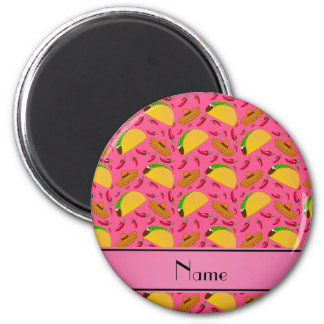 Personalized name pink tacos sombreros chilis 2 inch round magnet