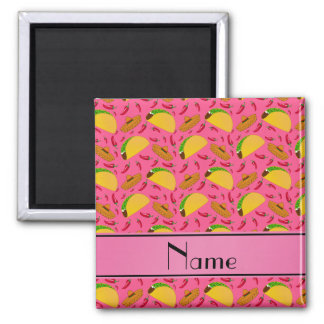 Personalized name pink tacos sombreros chilis 2 inch square magnet