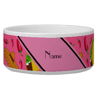Personalized name pink tacos sombreros chilis pet bowl