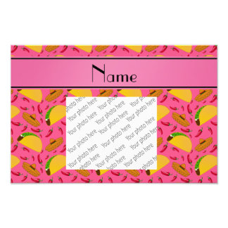 Personalized name pink tacos sombreros chilis photo print