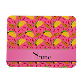 Personalized name pink tacos sombreros chilis rectangular photo magnet