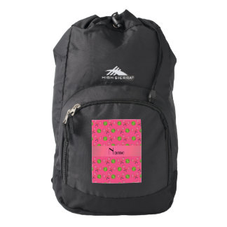 Personalized name pink tennis balls backpack