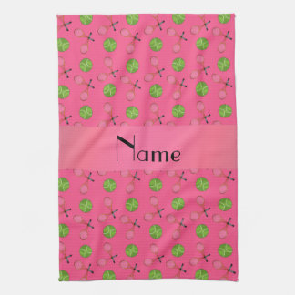 Personalized name pink tennis balls hand towel