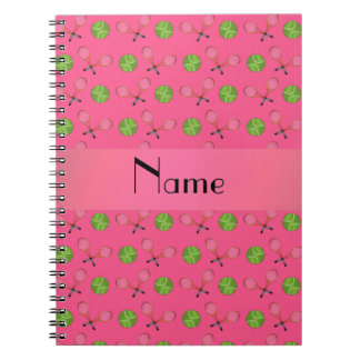 Personalized name pink tennis balls spiral note book