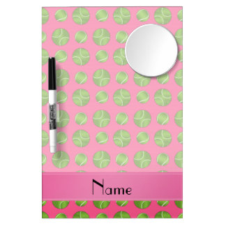 Personalized name pink tennis balls pattern dry erase board with mirror