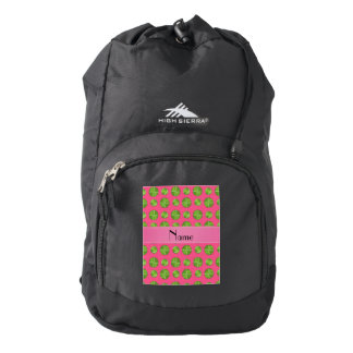 Personalized name pink tennis balls pattern backpack
