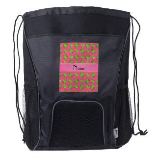 Personalized name pink tennis balls pattern drawstring backpack