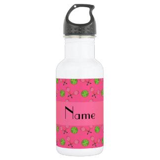 Personalized name pink tennis balls 18oz water bottle