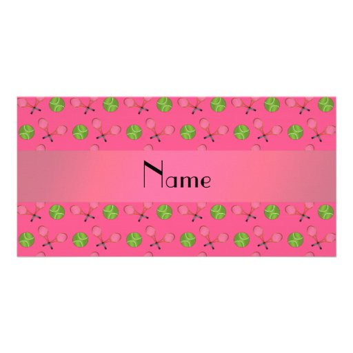Personalized name pink tennis balls customized photo card