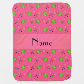 Personalized name pink tennis balls receiving blanket