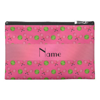 Personalized name pink tennis balls travel accessory bag