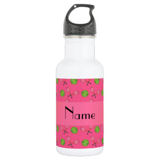Personalized name pink tennis balls water bottle